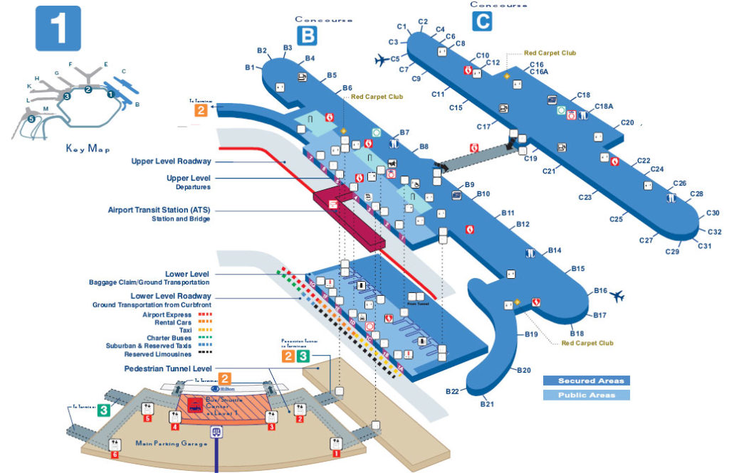 Map O Hare Terminal 1 In Detail Concourse B Concourse C