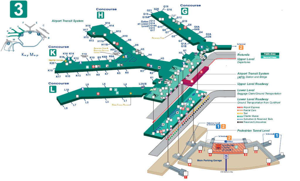 Chicago O Hare Airport Terminal 3 Map Parking Food